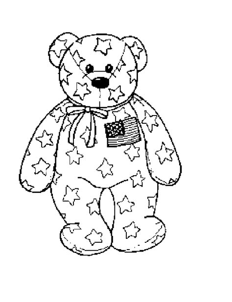 beanie babies coloring page coloring activity pages patriotic beanie baby bear