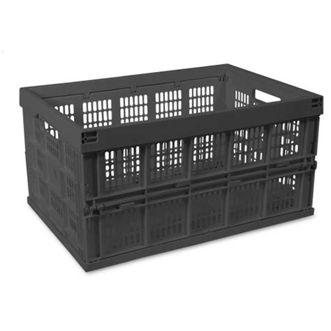 how to collapse a crate collapsible storage crate black in plastic storage bins