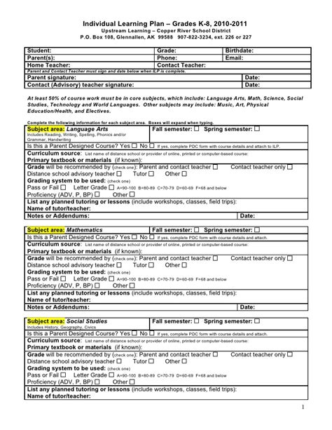 individual learning plans templates individual learning plan grades k 8 2010 2011