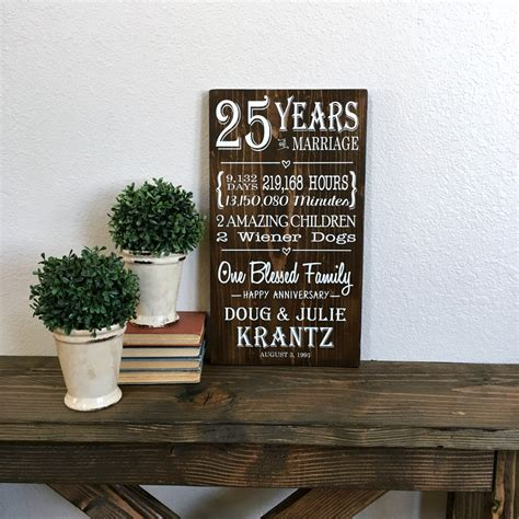 25 years of marriage 25th anniversary gift anniversary