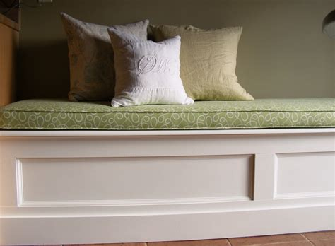 white wood custom kitchen banquette