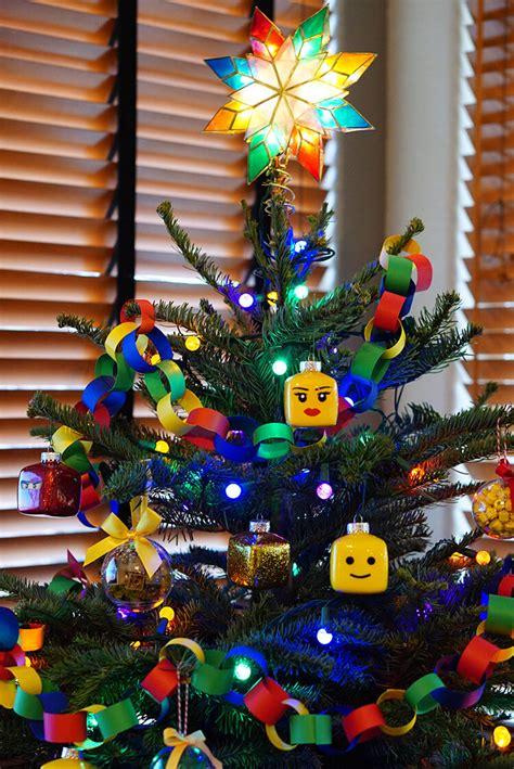 kids lego themed christmas tree happiness  homemade