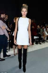 capitol boat club madison jessica hart flaunts legs in suede boots and white mini