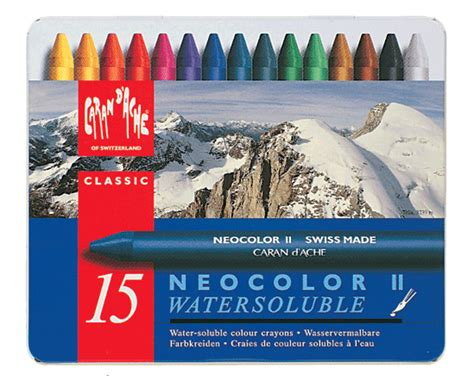Caran D39ache Neo Colour 1 Metal Box 15 Colours caran d ache classic neocolor ii metal box of 15 rex supplies