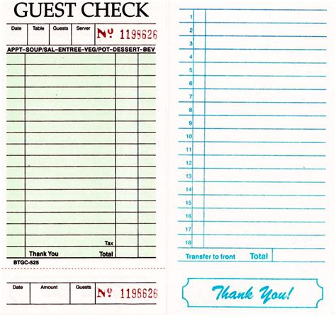 restaurant guest check template guest checks