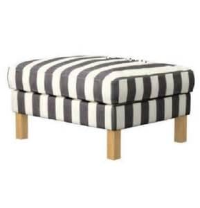 Striped Ottoman Ikea Karlstad Footstool Ottoman Slipcover Cover Rannebo Black White Stripes