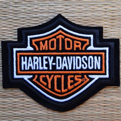 Harley Davidson Badges by Harley Davidson Classic Orange Logo Sew On Patch Small