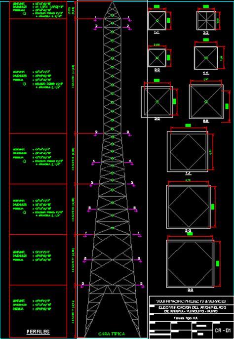 electrical transmission tower pylon dwg detail