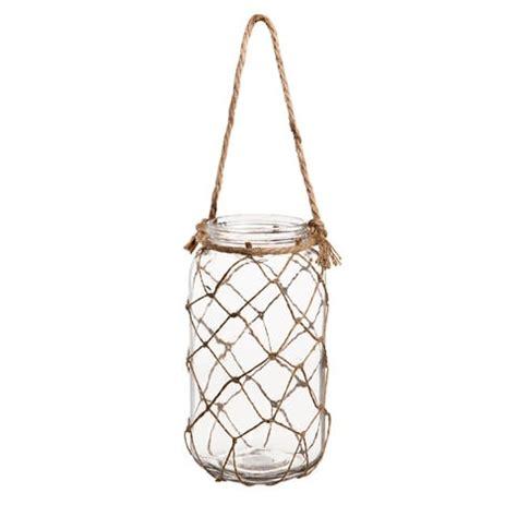 "glass/hemp hanging jar vase 4.53"" x 9.45"" darice"