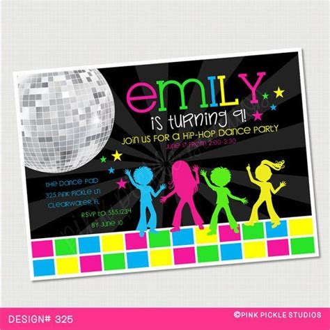 kids dance party birthday invitation or thank by