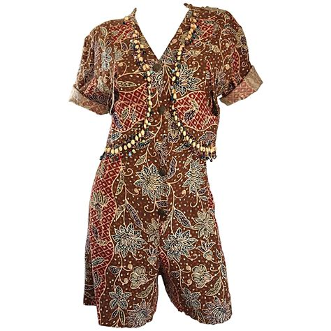 Jumpsuit Ethnic amazing vintage romper shorts jumpsuit w tribal ethnic print bells for sale at 1stdibs
