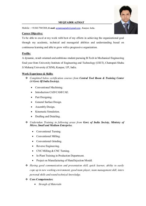 Resume Format For Mechanical Engineering Students In India Pdf Mechanical Engineer Cv