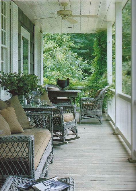 porch wicker painted  pretty blue gray  dining
