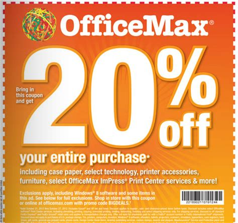 by shellie october 21 2012 this post may contain affiliate links office max coupon save 20 off your purchase saving