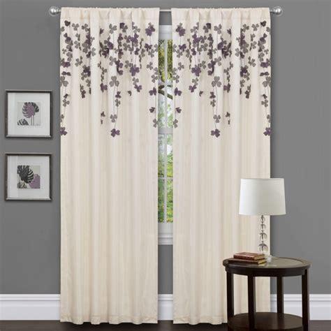 faux silk ivory curtains lush decor ivory purple faux silk 84 inch flower drop
