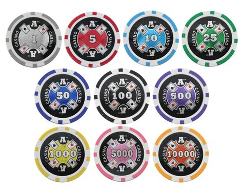 pc  aces  clay poker chips  laser effects  colors p