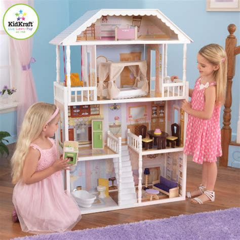 kidkraft wooden dolls house savannah dollhouse kidkraft wooden doll houses at directtoys nz
