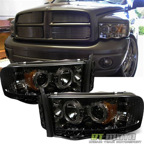 smoked dodge ram headlights 2002 05 dodge ram 1500 03 05 ram 2500 3500 smoked halo