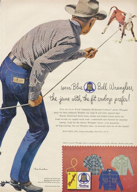 wearing classic denim 1950s blue jeans dandy man ted 1950s blue bell wranglers jean ad cowboy illustration