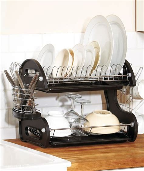 Two Tier Dish Rack by New 2 Tier Deluxe Black Dish Drainer Strainer Drying Rack