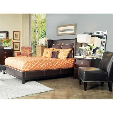 Angelo Home Marlowe Chocolate Bonded Leather Shelter Bed 2 Modern Bedroom Furniture Vancouver