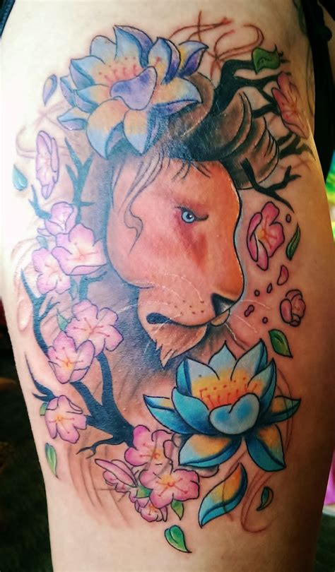 lotus tattoo with lion 14 best girly leo tattoos images on pinterest leo