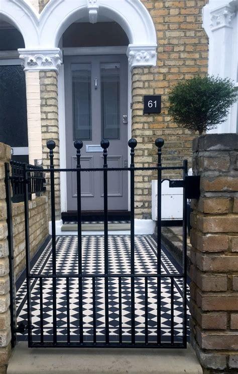 Victorian Mosaic Tile Path Front Garden Design East House Metal Front Door Gates