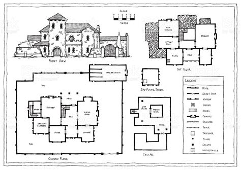 italian floor plans medieval italian or spanish villa plan stock vector art