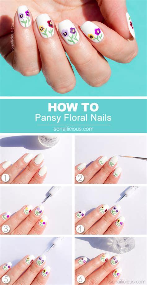 tutorial nail art flower siberian pansy flower nail art tutorial