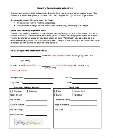 recurring ach payment authorization form template form masir