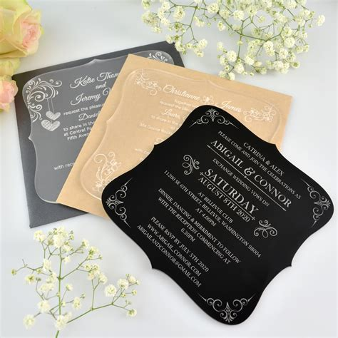 Engraved Wedding Invitations engraved royal style acrylic wedding invitation