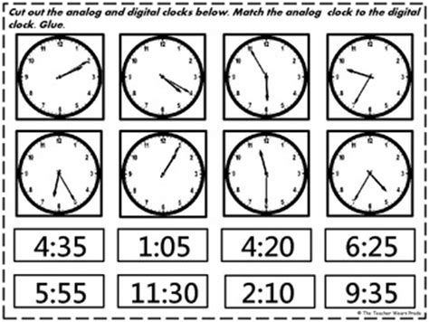 printable clock matching game time cut and paste matching freebie by the teacher wears