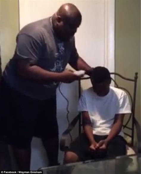 cutting my sons hair changed his personality father wayman gresham gives pretends to shave his son s