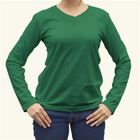 Kaos Wanita Got House Stark toko jual grosir kaos distro kaos polos lengan panjang hijau fuji wanita v neck murah