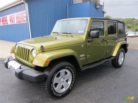 jeep sahara green 2008 rescue green metallic jeep wrangler unlimited sahara
