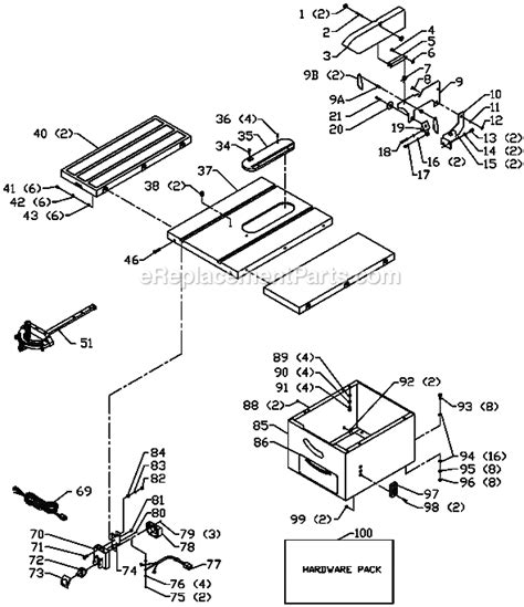 delta bench saw parts delta 36 678 parts list and diagram type 1