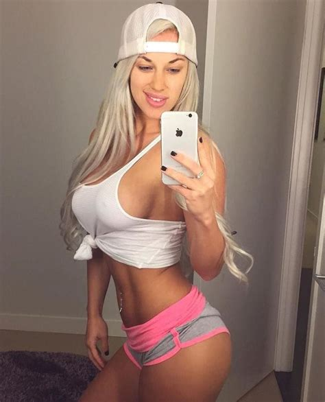 Laci Kay Somers in Pink and Grey Shorts and White Tank Top