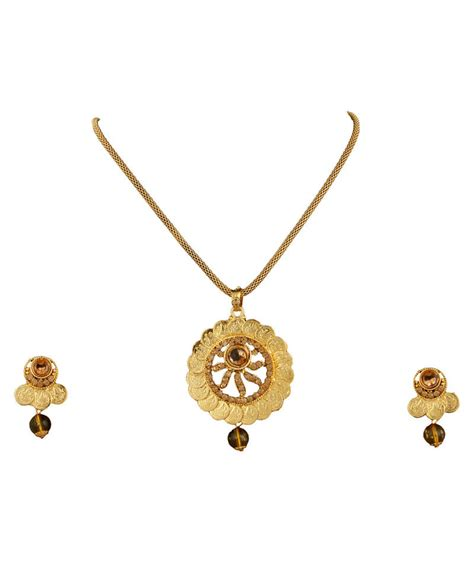 Buy Crystal Jewelry Sets Onlinelaxmi Coin Setsearrings | buy gold plated goddess laxmi coin temple pendant earrings