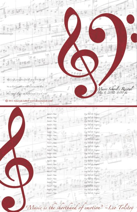 free customizable recital program templates