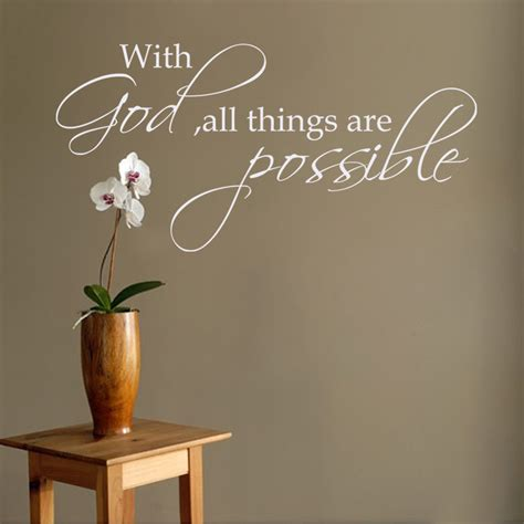 with god all things are possible religious wall decal bible verse vinyl quote 28cm x 56cm in