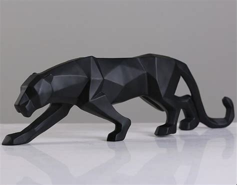 black panther sculpture contemporary home trisources modern abstract black panther sculpture geometric resin