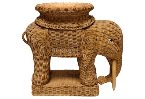Elephant End Table by Wicker Elephant Side Table From One