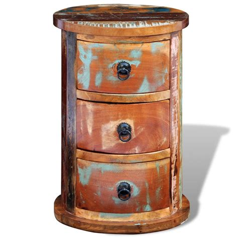 solid wood round reclaimed solid wood round with 3 drawers vidaxl