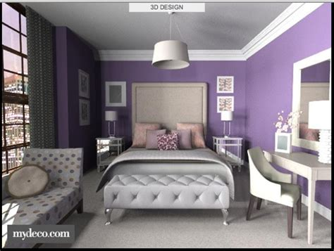 chic bedroom  purple walls  contrasting white