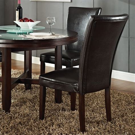 steve silver hartford leather dining chair in cherry
