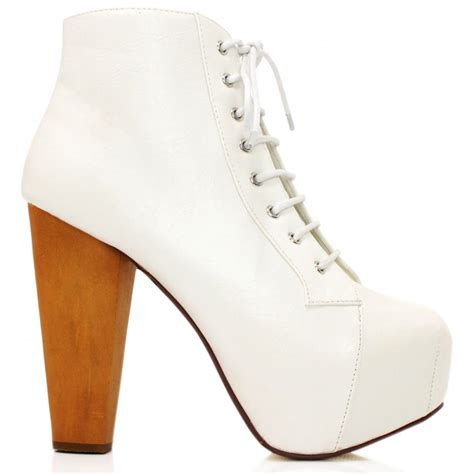 buy heeled platform ankle boots white leather style