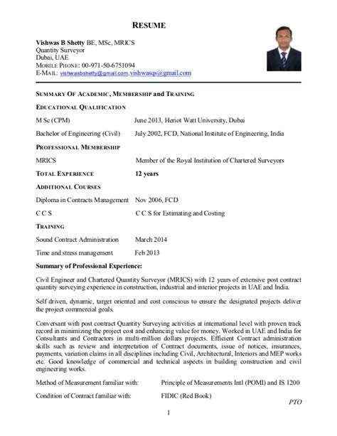 Service Letter For Quantity Surveyor Resume Quantity Surveyor