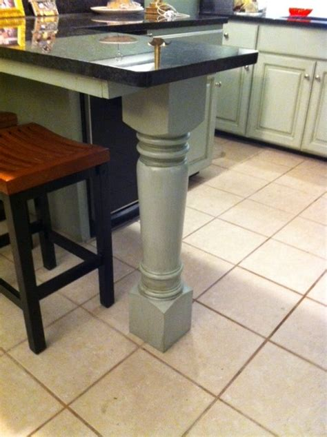 massive island leg supports kitchen island project