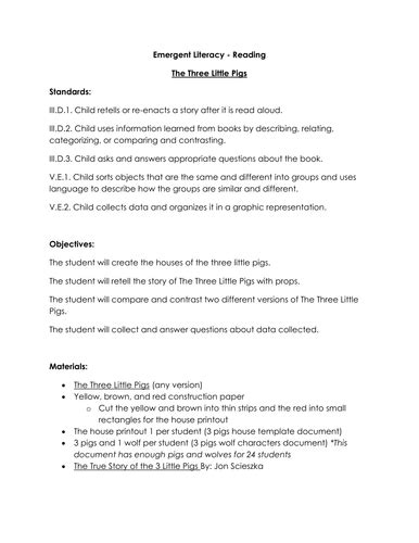 design criteria ks1 the 3 little pigs shared reading activities by melissamday