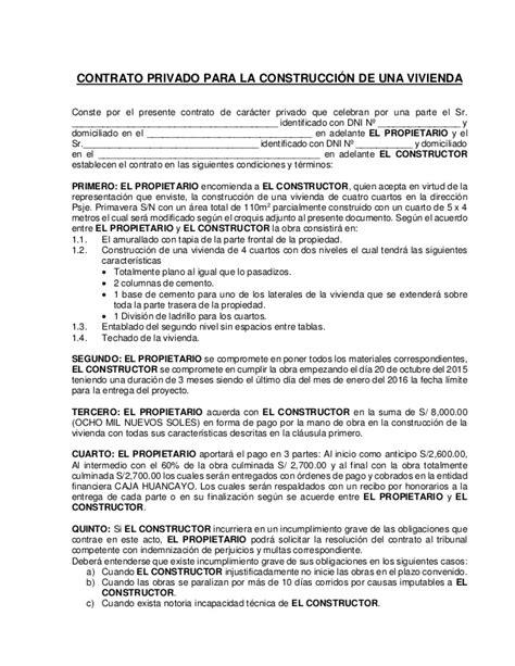 la triloga de contrato contrato privado para la construcci 243 n de una vivienda